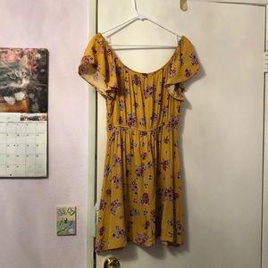 Blue Rain Dresses - Mustard yellow off the shoulder dress